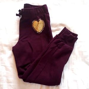Childrens Place Girls 5/6 Star Burgundy Sweatpants